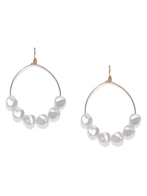 Gold-Toned & White Circular Drop Earrings