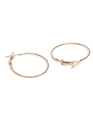 Set Of 3 Gold-Toned Circular Hoop Earrings