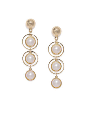 Gold-Toned & Off-White Teardrop Shaped Drop Earrings