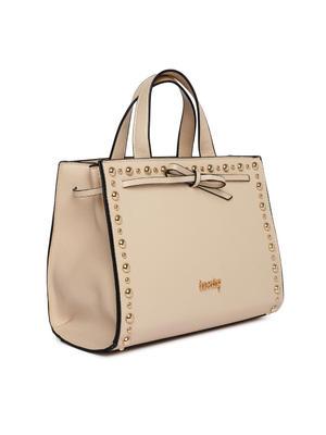 Off White Studded Handheld Bag