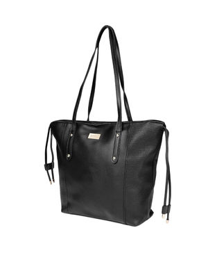 Black Solid Shoulder Bag