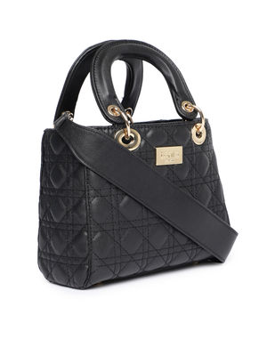 Black Textured Handheld Bag