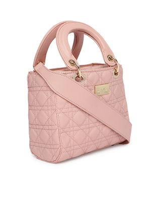 Light Pink Textured Handheld Bag
