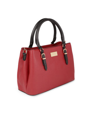 Red Daul Tone Buckle Up Shoulder Bag