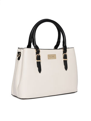White Dual Tone Buckle Up Shoulder Bag