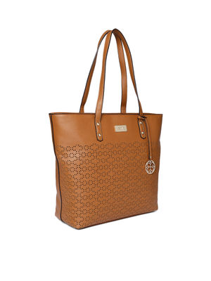Brown Lazer Cut Tote