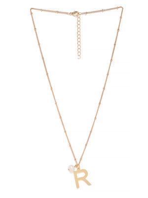 Gold-Toned R-Shaped Pendant With Chain