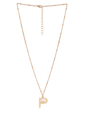 Gold-Toned Contemporary-Shaped Pendant With Chain