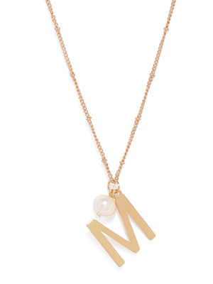Gold-Toned M-Shaped Pendant With Chain
