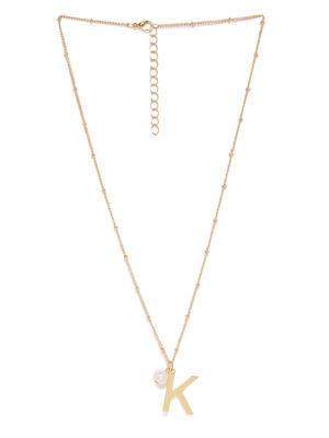 Gold-Toned K-Shaped Pendant With Chain