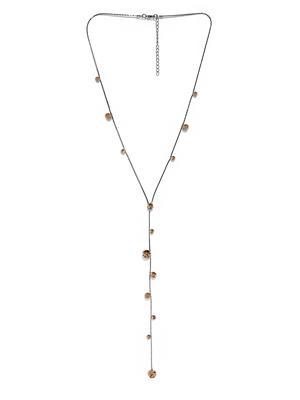 Gunmetal & Gold-Toned Stone Studded Necklace