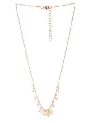 Gold-Toned & White Stone Studded Necklace