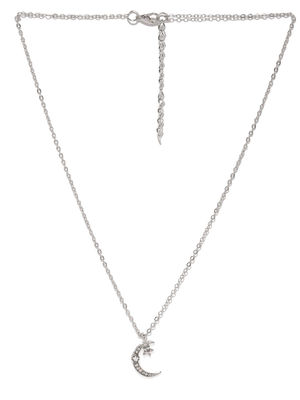 Silver-Toned Contemporary-Shaped Pendant With Chain