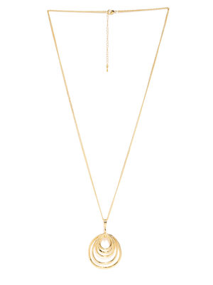 Gold-Toned Swirls Pendant With Chain