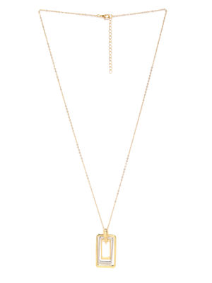 Gold-Toned & Silver-Toned Geometric Pendant With Chain