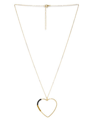 Gold-Toned Heart-Shaped Pendant With Chain