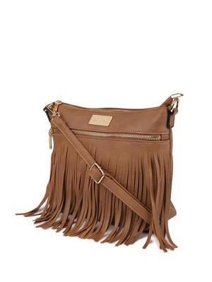 Caramel Fringy Sling Bag