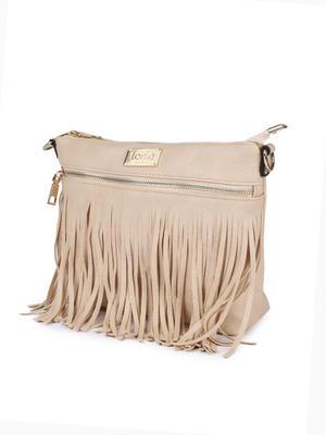 Beige Fringy Sling Bag
