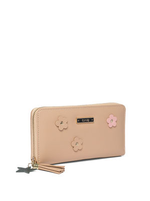 Ecru Floral Applique Wallet