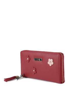 Carmine Floral Applique Wallet