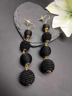 Black Circular Contemporary Drop Earring For Women