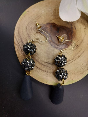 Black & Gun Metal Tear Drop Earring For Women