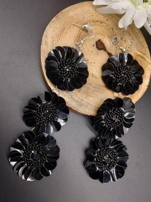 Black Floral Drop Earring For Women