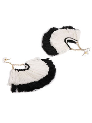 White & Black Thread Tassel Drop Earring For Women