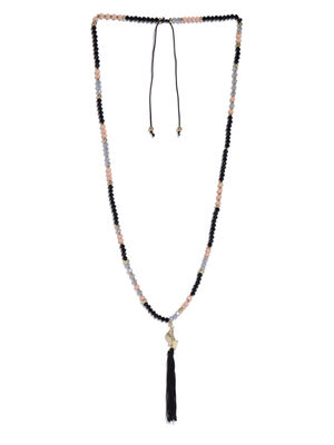 Black & Peach- Colored Metal Beaded Necklace