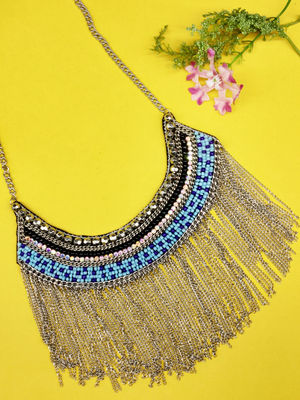 Silver Tone Seed Bead Choker Necklace For Women