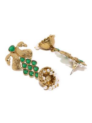 Antique Gold-Toned & Green Contemporary Jhumkas