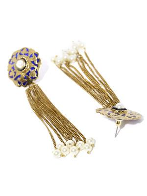 Gold Tone White Pearl Blue Enamel Tassel Drop Earrings For Women