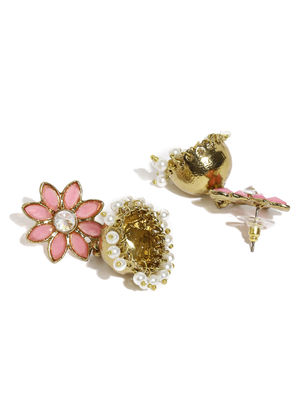 Gold-Toned & Pink Floral Jhumkas