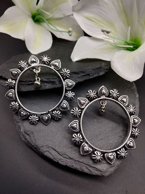 Oxidised Silver-Toned Circular Drop Earring For Women