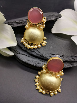 Gold-Toned & Pink Crystal Jhumka For Women