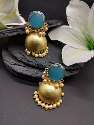 Gold-Toned & Blue Crystal Jhumka For Women
