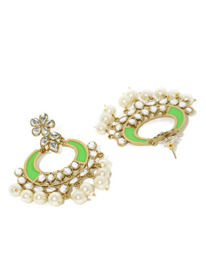 Gold Tone Green Floral Chanbali Earrings For Women