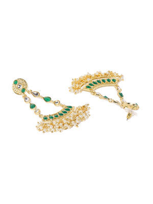 Gold Tone Green Stone Chandbali Earrings For Women