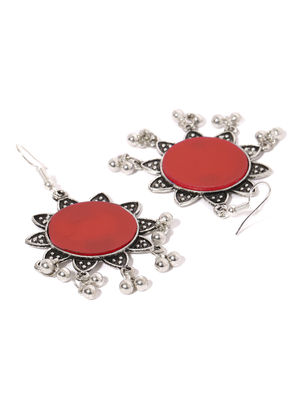 Oxidised Silver-Toned & Red Floral Jhumka For Women