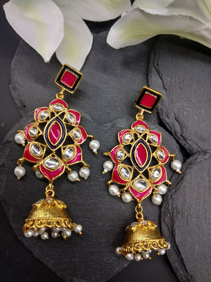 Pink & Gold-Toned Classic Drop Earrings