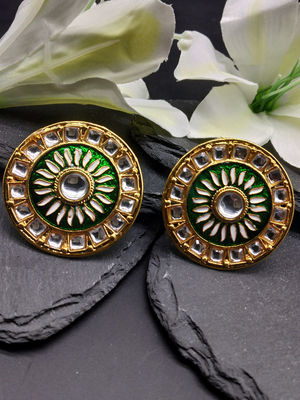 Green & Gold-Toned Embellished Circular Studs