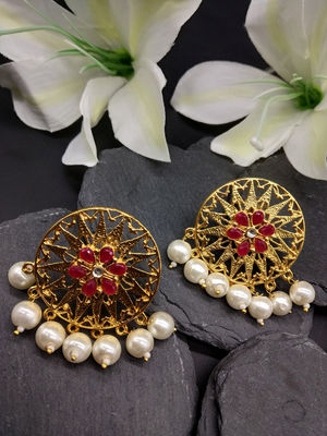 Gold-Toned & Red Circular Drop Earrings