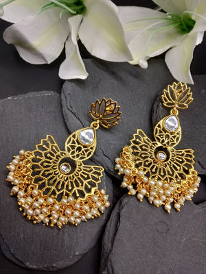 Gold-Toned Stone-Studded Classic Drop Earrings