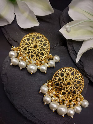 Gold-Toned Dreams Of Pearls Drop Earrings