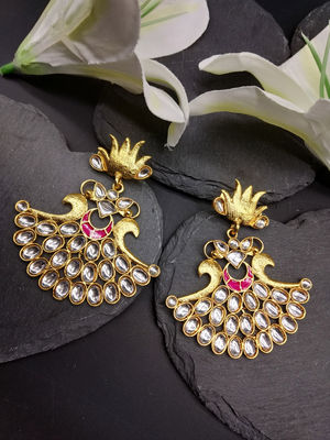 Gold-Toned Peacock Shaped Drop Earrings