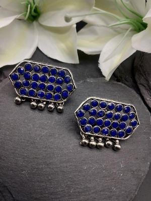 Blue Geometric Stud Earrings