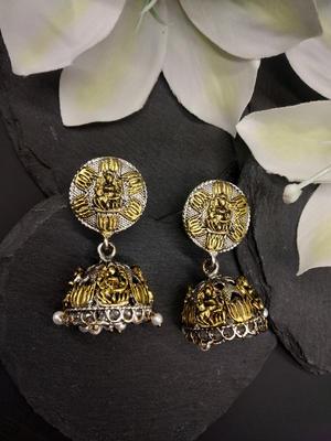 Silver-Toned & Gold-Toned Laxmi Kamla Dome Shaped Jhumkas