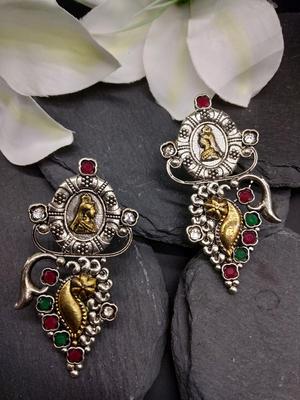 Multicoloured Oxidized Contemporary Drop Earrings