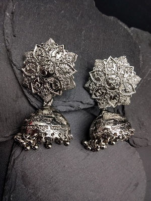 Silver-Toned Dome Shaped Oxidised Jhumkas