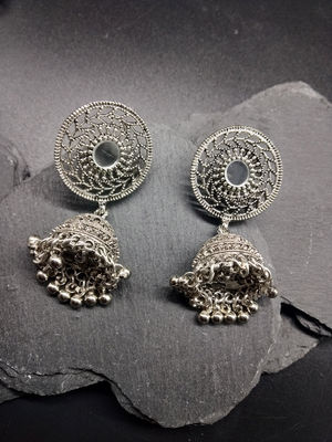 Silver-Toned Dome Shaped Mirrored Jhumkas